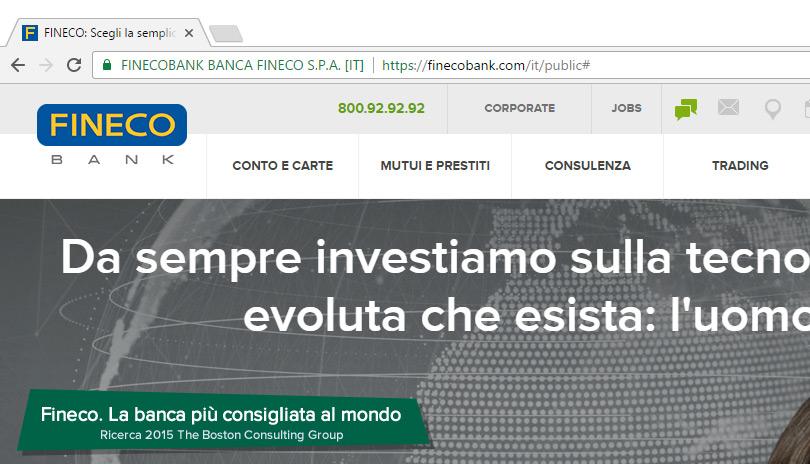 Chrome certificato TLS Fineco